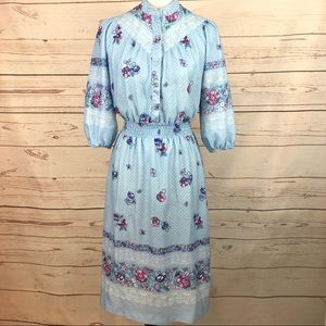 VTG 60's 70's Blue Floral Lace Dress